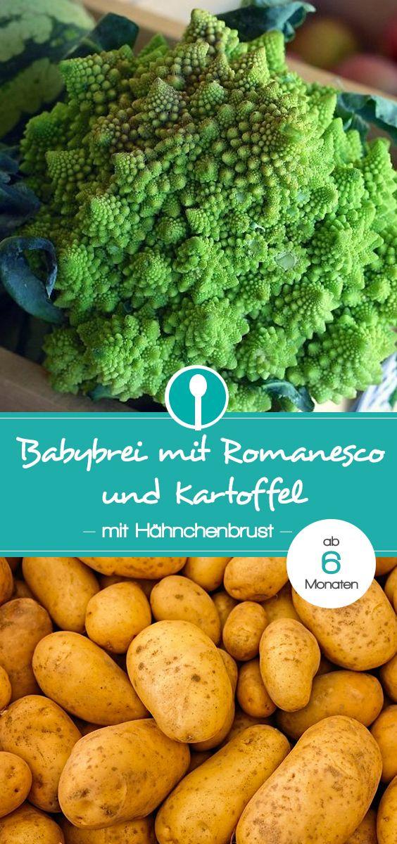 Babybrei mit Romanesco, Hähnchenbrust und Kartoffel. Der leckere und gesunde Mittagsbrei ist ab 6 Monaten geeignet.