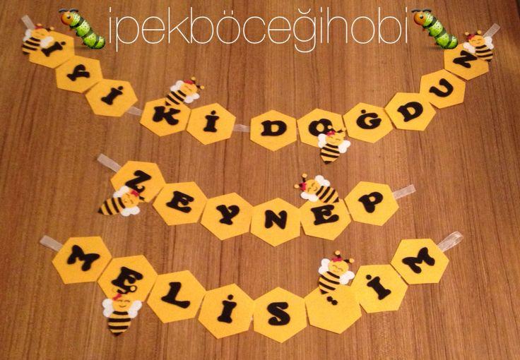Arı temalı doğumgünleri için flama