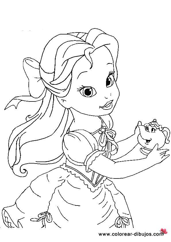 dibujos-colorear-princesas-bebes-bella  Colorear Bella ...