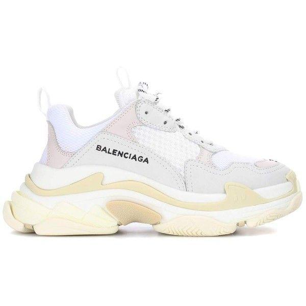 Baskets en cuir Triple S Balenciaga (45.030 RUB) ❤ liked on Polyvore featuring shoes, balenciaga sneakers, balenciaga, balenciaga trainers and balenciaga shoes