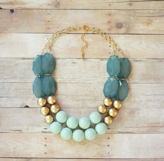 Mint Gold and Ocean Blue Statement Necklace  Chunky door ShopNestle