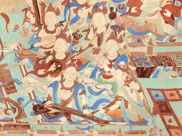 Cave 85, detail of wall painting of musicians, Late Tang dynasty (848–907 CE). Mogao Grottoes, Dunhuang, China. Courtesy the Dunhuang Academy.