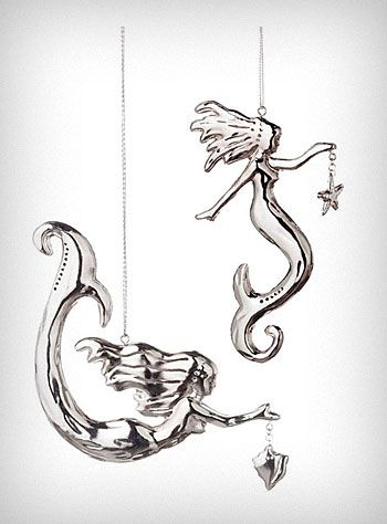 Silver Sea Siren Mermaid Ornaments - Set of 2                                                                                                                                                     More