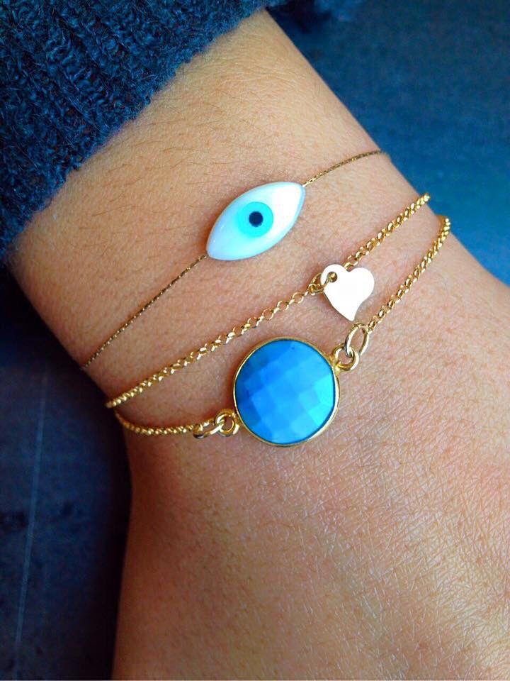 Tiny Heart Bracelet, Small Eye Bracelet, Stone Bracelet, Gold Plated Bracelets, Thin Gold Chain, Fashion Bracelets.