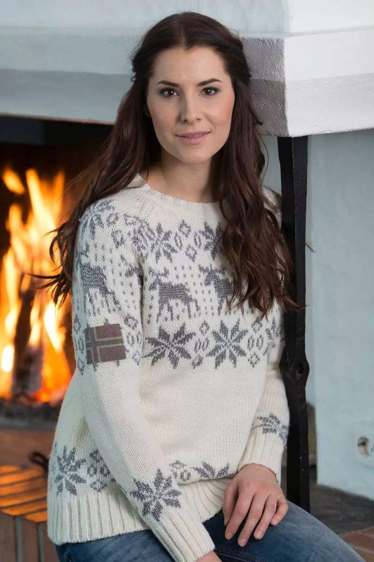 Barfota Trysil strikket genser, krem/grå