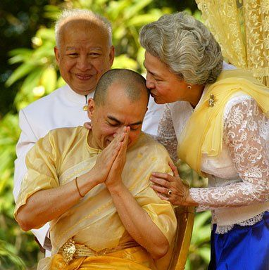 King Norodom Sihamoni of Cambodia with his parents at his Inauguration Ceremony.