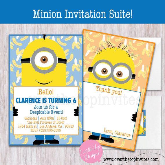 minion despicable me invitation thank you by OverthetopinvitesCo