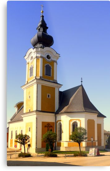 The village church of Sankt Johann am Wimberg   architectural photography by Patrick Jobst. Fine wall art metal print, available in different sizes (from extra small to extra large) and Gloss or Matte finish. #metalprint #wallart