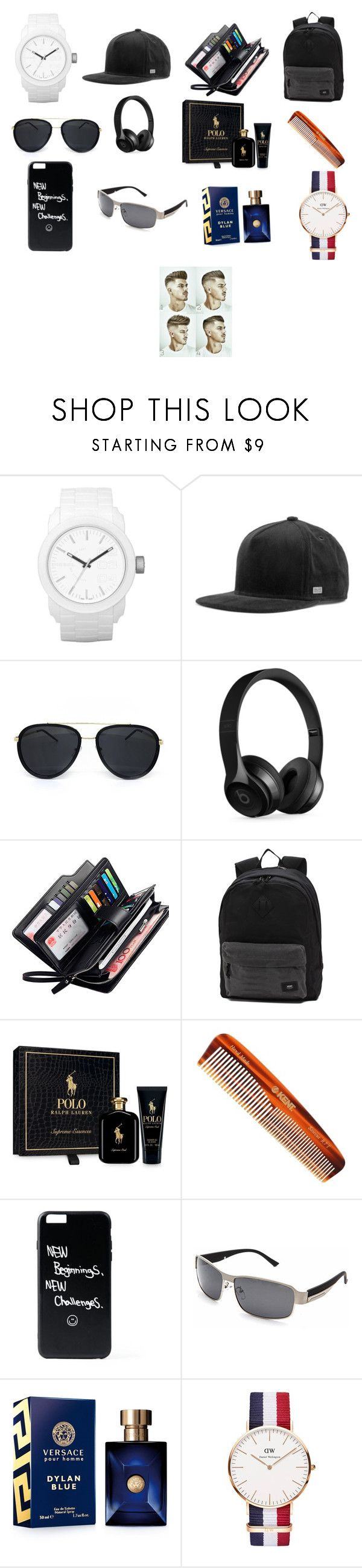 """""""The 2 day vacation part two men gifts"""" by mumtajcooper ❤ liked on Polyvore featuring Diesel, MELIN, Beats by Dr. Dre, Vans, Ralph Lauren, Kent, Versace, Daniel Wellington, men's fashion and menswear"""