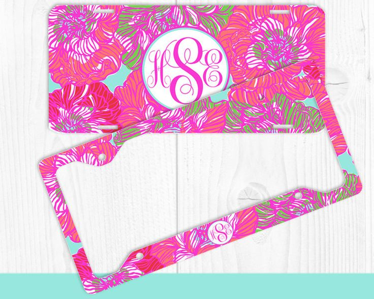 Pink Camo Monogrammed License Plates