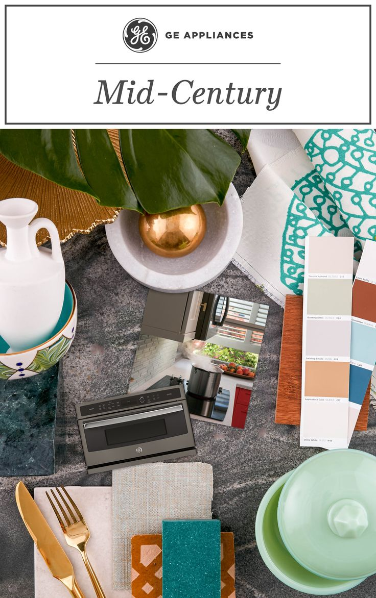 From Scandinavian-inspired lines to retro jadeite serveware and brass accents, with GE Slate Appliances, you can create the Mid-Century masterpiece pro designers dream of. #30DaysOfMoodboards