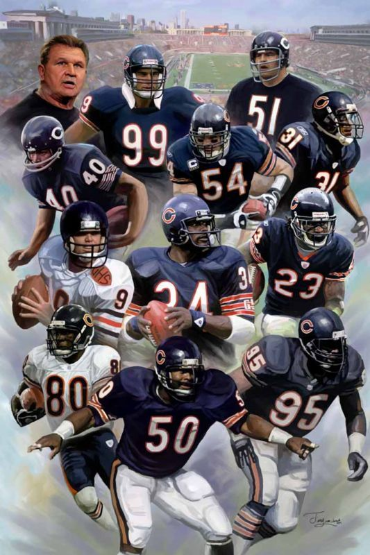 Chicago Bears: giclee print on canvas N-602 | eBay