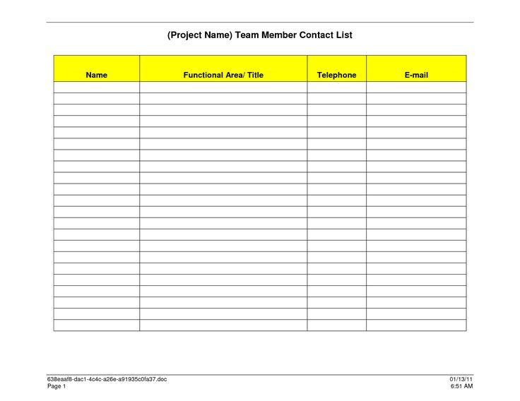 Sample Contact List Template