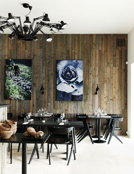 Salvaged wood wall for that rustic character  contemporary, stylish lighting  furniture. Radio, Copenhagen