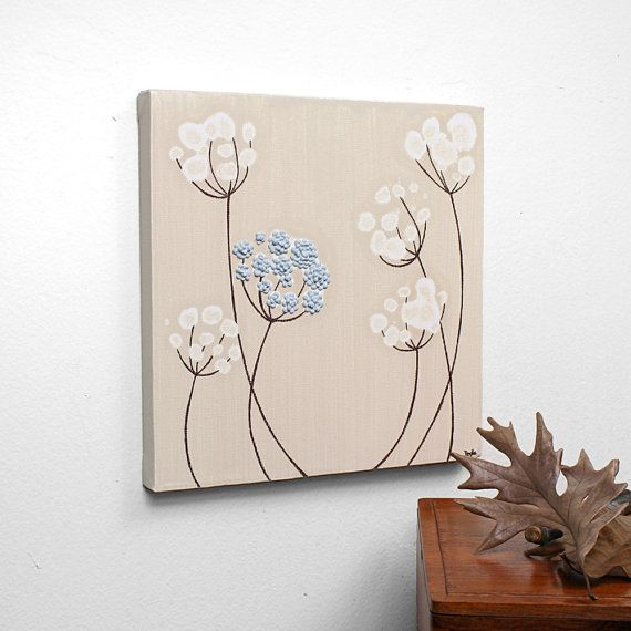 Textured Acrylic Painting  Flower Canvas Art  Blue and by Amborela, $38.00