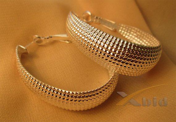 Sterling silver earrings. Large hoop earrings 925 by xabid on Etsy, $30.00