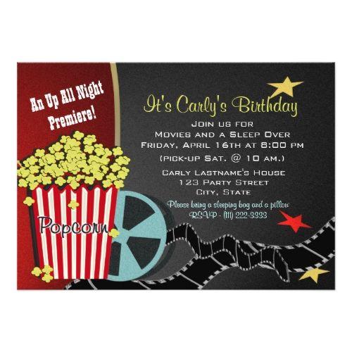 movie birthday invitations popcorn and a movie sleep over card