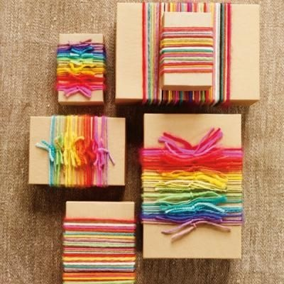 Rainbow Yarn Gift Wrapping#Repin By:Pinterest++ for iPad#