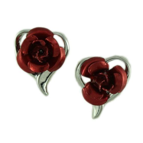 FE105-Heart with Red Rose Pierced Earring