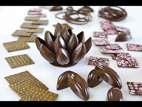 Decoraciones con chocolate negro atemperado - YouTube
