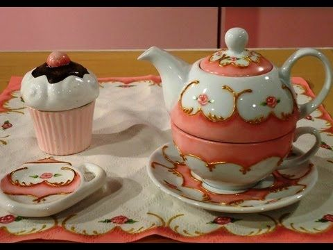 Como pintar porcelana - Tea for one