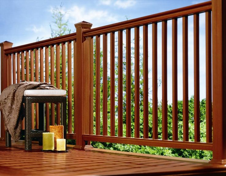 Deck railing synthetic wood kit deck railings for Garden decking banister