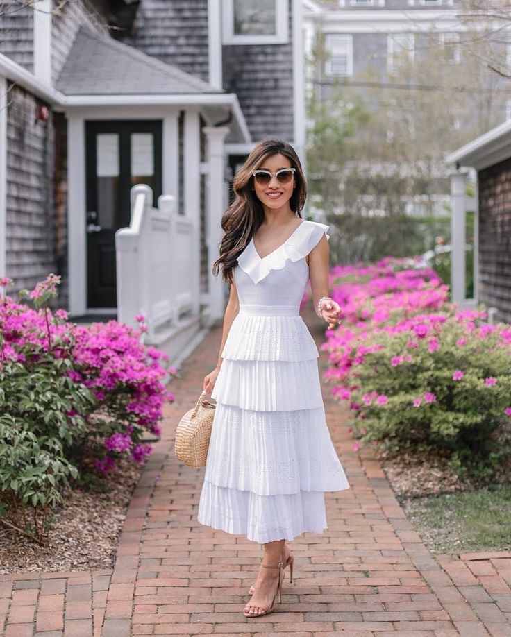 speak to quality. Jean of Extra Petite wearing Laser-Cut Pleated Midi Dress- Layered midi dress with fitted waist and laser cut detail. perfect for summer
