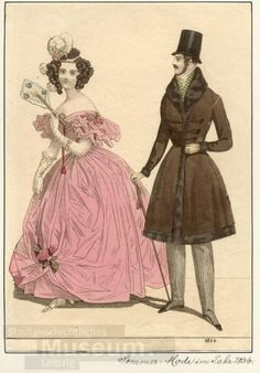 Walking dress for men and evening dress, 1834 Germany, source missing