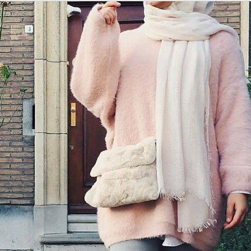 furry pink sweatshirt hijab-Pinky cute hijab outfits – Just Trendy Girls