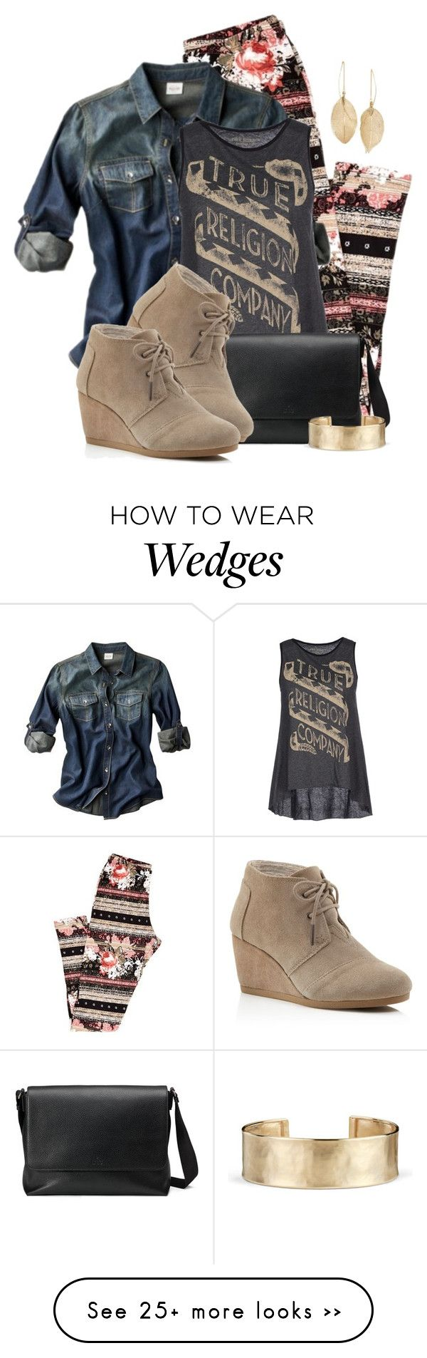 """TOMS Wedge Booties & Leggings"" by colierollers on Polyvore featuring Mossimo, True Religion, Gucci, TOMS, Lulu*s and Blue Nile"