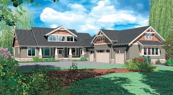 l shaped craftsman home plans - Google Search                              …