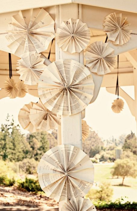 Some DIY decorations made out of pages. Beautiful!