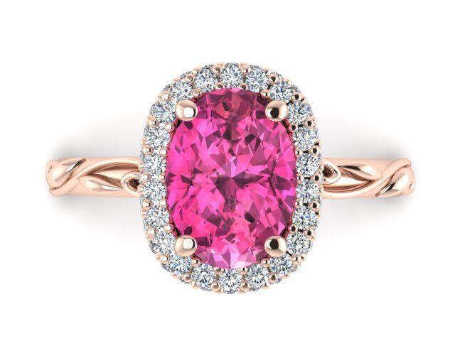 Engagement Diamond Ring, Sapphire Engagement Ring, Oval Diamond Rose Gold Wedding Rings, Pink Sapphire Engagement Ring, Diamond Halo Ring by BridalRings on Etsy https://www.etsy.com/listing/481487223/engagement-diamond-ring-sapphire