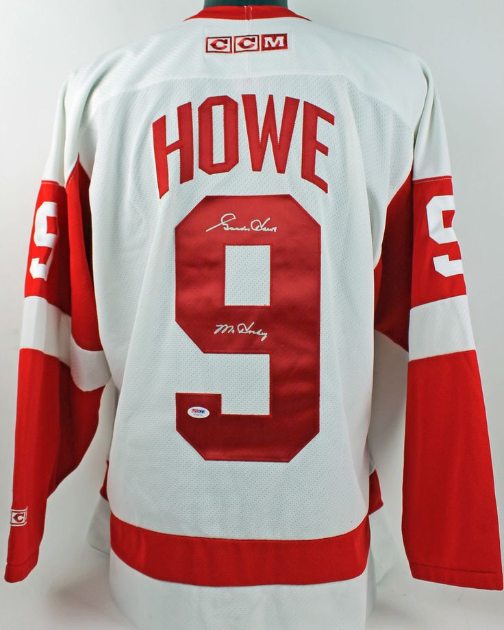 """Gordie Howe Detroit Red Wings Autographed Ccm Jersey $877.99  This is a """"Mr. Hockey"""" Authentic Signed CCM Jersey that has been Personally Signed & Autographed by Gordie Howe of the Detroit Red Wings. PSA graded the jersey as a Gem Mint 10! This item is 100% Authentic to include a Certificate of Authenticity (COA) / hologram by PSA/DNA #VIP-T76874. VIP Collectibles offers a 100% Lifetime Guarantee on all Autographed & Signed Detroit Red Wings Gordie Howe memorabilia."""