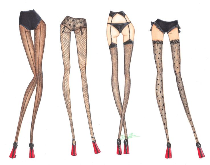 I like how this fashion illustration shows loubutins on models and not just the shoes. I also like how the models have got tights on to include more detail