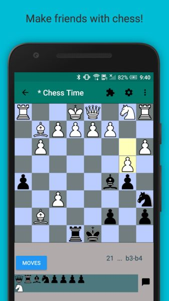Chess Time Pro - Multiplayer v3.4.0.55   Chess Time Pro - Multiplayer v3.4.0.55Requirements: 4.0.3Overview: Ad-Free version of Chess Time for Android. There are no other differences from the Ad version.  - Play online. - Play against your friends multiplayer - Game level chat! - Account based! - History of recent games played! - Rating auto calculated. - Export your game moves and share with a friend! Standard PGN format for use in PGN viewers.  Recent change history: 3.3.3.1 - forgot…