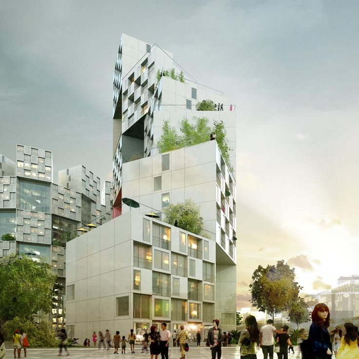 BIG Designs A Pixelated Apartment Complex 景観設計 Pinterest - 384ft tall apartment will be the worlds first building to be covered in evergreen trees