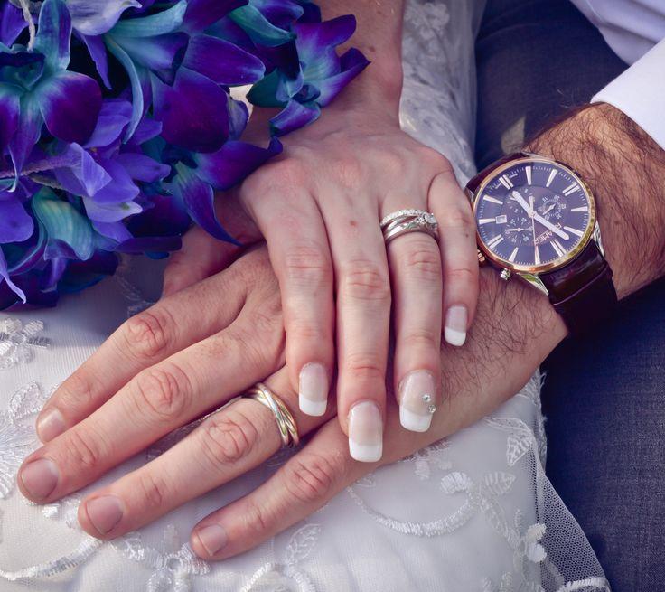 Wedding rings and my wedding gift to Aaron, a Swiss Roamer watch