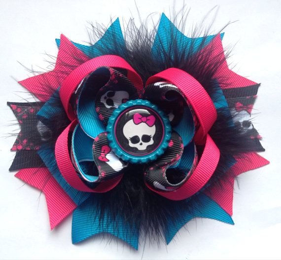 Monster high hair bow w/ skull bottle cap by NoanyDreamsBow, $9.00