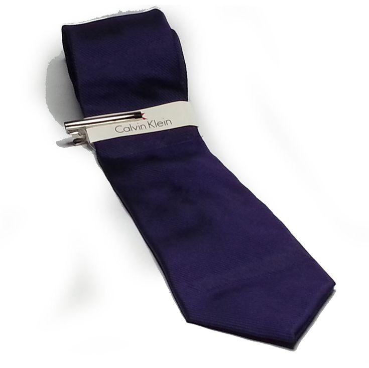 Calvin Klein Men #silk Purple Slim tie with Nickel tie Bar New CalvinKlein visit our ebay store at  http://stores.ebay.com/esquirestore