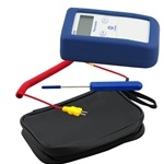 COMARK THERMOMETER KIT    Kit includes: PK19M and SK42M probes plus AC315 carry case.    Type K thermocouple thermometer  -40°F/°C to 1000°F/500°C  Accuracy ±2°F/1°C  Water resistant and easily cleanable with membrane keypad  Supplied with CRS/5 protective boot  Sub-miniature connector  Accepts a wide range of type K probes  Auto switch-off to save battery life