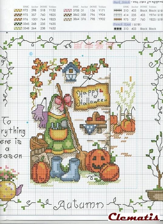 Mejores 27 imágenes de Cross Stitch Fall en Pinterest | Punto de ...