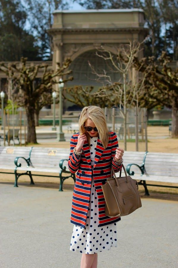 stripes + polka dots: Spots, Atlantic Pacific, Fashion, Polka Dots Prints, Outfit, Stripes, Atlanticpacific, Mixed Pattern, Coats