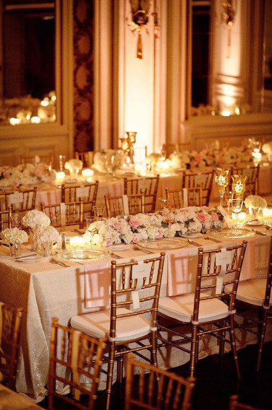 Love the glow of white, blush, and gold with the candle lighting.. Romantic candles and wedding ideas, get inspired