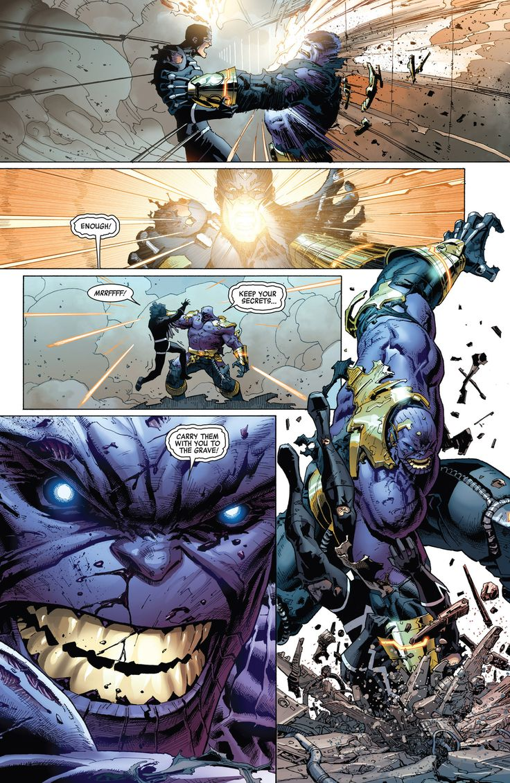 Black Bolt vs. Thanos comic panel.