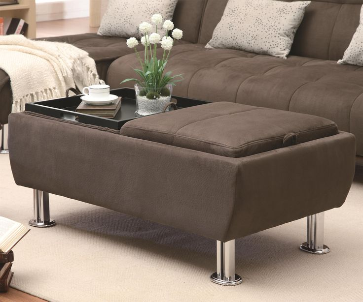 Wonderful Coaster Ottomans Casual Styled Ottoman With Flip Over Serving Trays