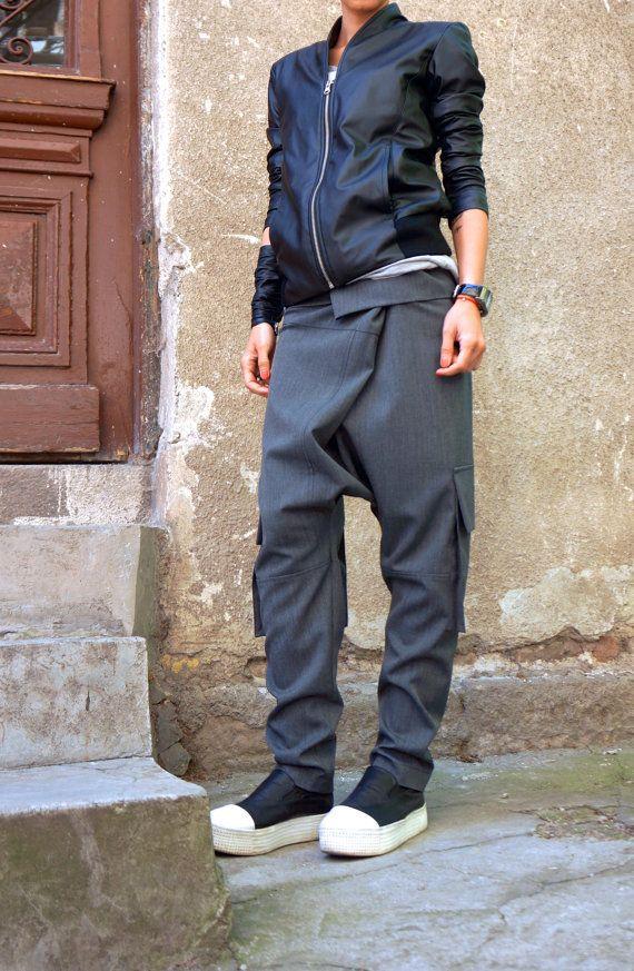 NUOVA luce grigio Drop Crotch Pants / stravagante Light Grey
