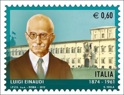 il francobollo emesso il 2 luglio raffigura un ritratto di Luigi Einaudi e, sullo sfondo, il Palazzo del Quirinale.