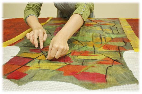 Моя осень: валяние жилета и рисование шерстью - Ярмарка Мастеров - ручная работа, handmade