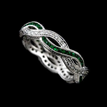 Vintage Style 18K White Gold Diamond and Green Emerald by OroSpot, $2099.00